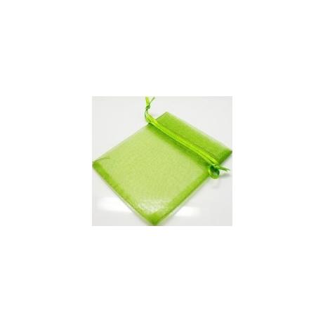 Pochette organza vert anis 11x14cm