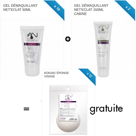 PACK N°2 - 12 GEL DEMAQUILLANT + 12 KONJAC GRATUITE